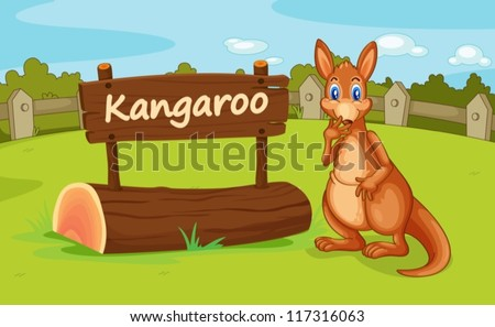 illustration of a kangaroo in a beautiful nature