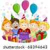 Illustration of a Kid Blowing His Birthday Candles - stock vector