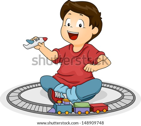Illustration of a Kid Boy Playng with His Toys - stock vector