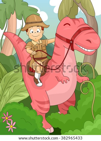 Illustration of a Kid Boy Riding on a Dinosaur for Adventure