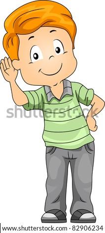 Illustration of a Kid Demonstrating His Sense of Hearing - stock vector
