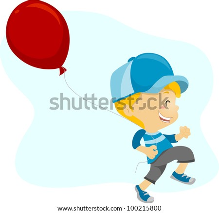 Illustration of a Kid Happily Holding a Balloon - stock vector
