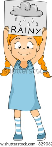 Illustration of a Kid Holding a Flashcard - stock vector