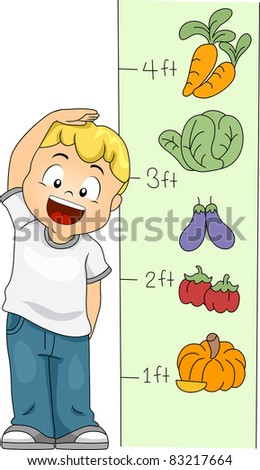 Illustration of a Kid Measuring His Height - stock vector