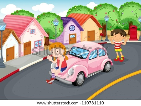 illustration of a kids and car on a road - stock vector