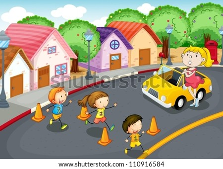 illustration of a kids crossing on road - stock vector
