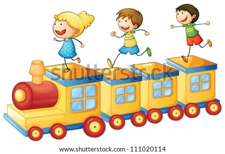 illustration of a kids playing on a toy train - stock vector