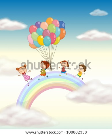 illustration of a kids playing with balloons in the sky - stock vector