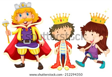 Illustration of a king, a prince, and a princess - stock vector