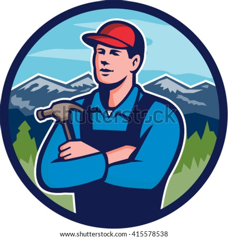Illustration of a kitchen bathroom remodeler builder carpenter holding hammer with arms crossed viewed from front set inside circle with mountains in the background done in retro style.  - stock vector