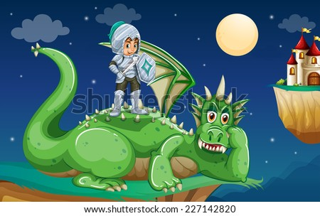 illustration of a knight and a dragon - stock vector