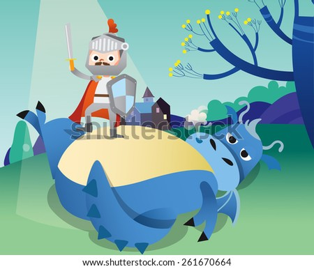 Illustration of a knight and dragon - stock vector