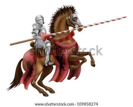 Illustration of a knight mounted on a horse holding a lance ready to joust - stock vector