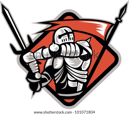 Illustration of a knight templar crusader fighting wielding sword and spear flag done in retro woodcut style. - stock vector