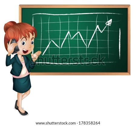 Illustration of a lady using her cellular phone in front of the blackboard on a white background - stock vector