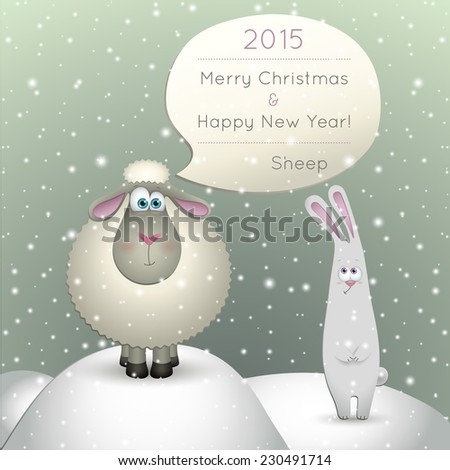Illustration of a lamb on a winter background. 2015 New Year of the Sheep. - stock vector