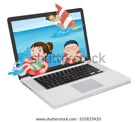 illustration of a laptop and kids on a white background - stock vector