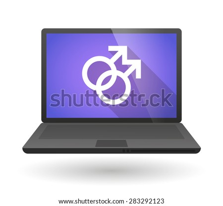 Illustration of a laptop icon with a male head