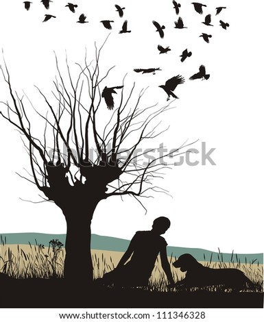 illustration of a lay man and dog in autumn nature