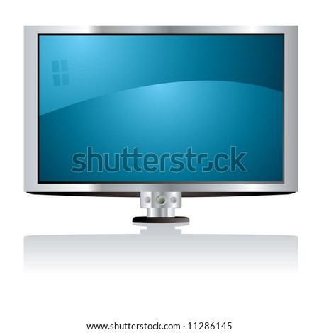 Illustration of a lcd tv with a blue screen and silver surround