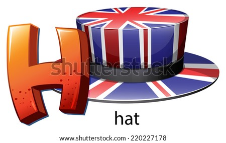 illustration of a letter h for hat on a white background