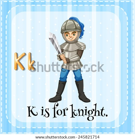 Illustration of a letter k is for knight - stock vector