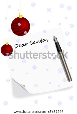 Illustration of a letter to Santa Claus - stock vector