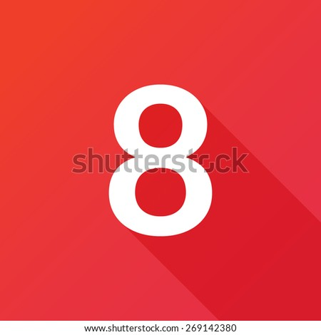 Illustration of a Letter with a Long Shadow - Letter 8. - stock vector