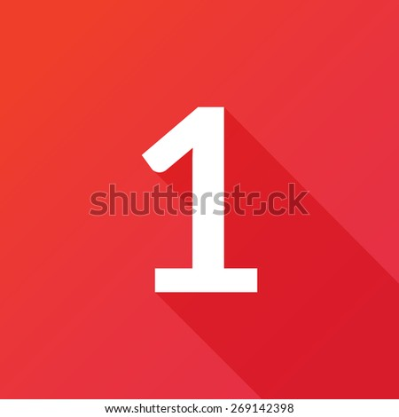 Illustration of a Letter with a Long Shadow - Letter 1. - stock vector