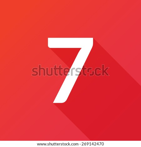 Illustration of a Letter with a Long Shadow - Letter 7. - stock vector