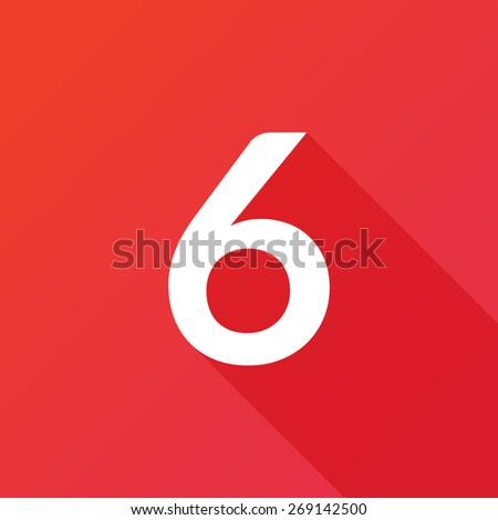 Illustration of a Letter with a Long Shadow - Letter 6. - stock vector