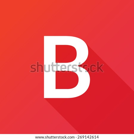Illustration of a Letter with a Long Shadow - Letter B. - stock vector
