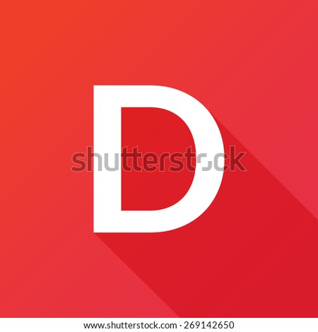 Illustration of a Letter with a Long Shadow - Letter D. - stock vector