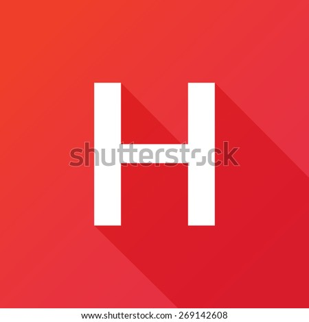 Illustration of a Letter with a Long Shadow - Letter H. - stock vector