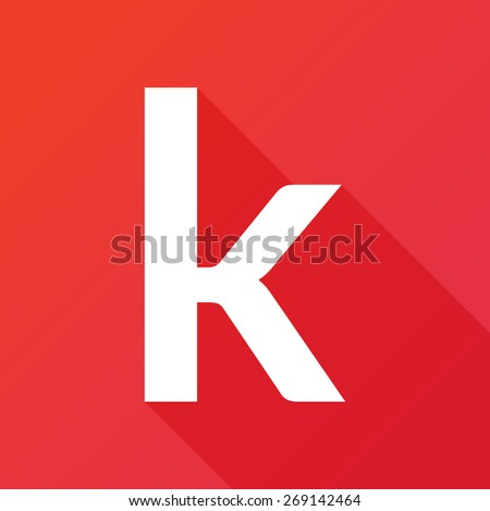Illustration of a Letter with a Long Shadow - Letter k. - stock vector