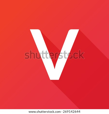 Illustration of a Letter with a Long Shadow - Letter V. - stock vector
