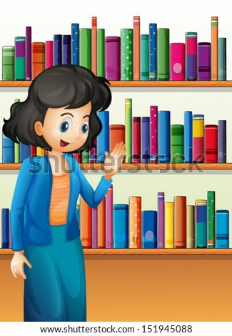 Illustration of a librarian in front of the bookshelves with books