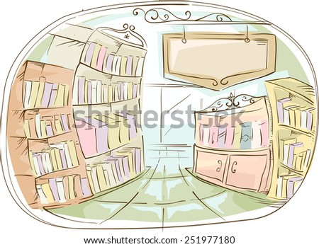 Illustration of a Library With a Library Sign Hanging on the Side - stock vector