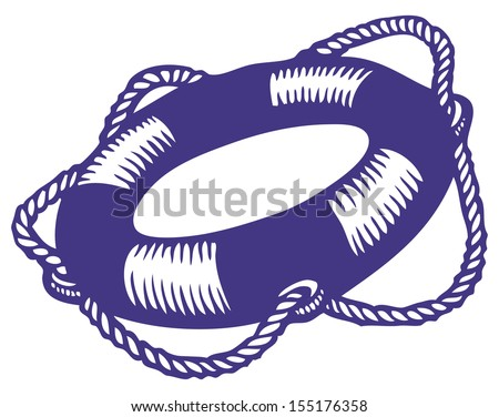Illustration of a life buoy in the style of a sketch - stock vector