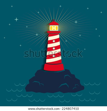 Illustration of a lighthouse in dark background - stock vector