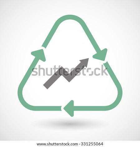 Illustration of a line art recycle sign icon with a graph - stock vector