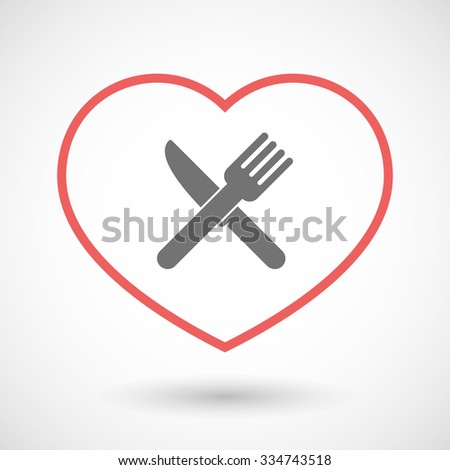 Illustration of a line hearth icon with a knife and a fork - stock vector
