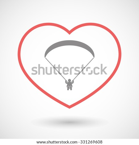 Illustration of a line hearth icon with a paraglider - stock vector