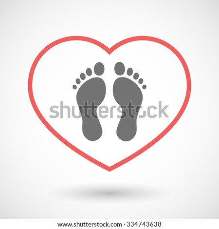 Illustration of a line hearth icon with two footprints - stock vector