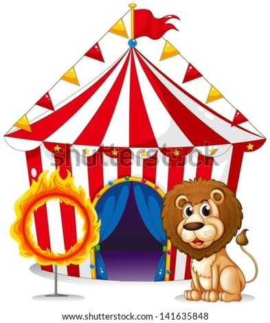 Illustration of a lion and a ring of fire at the carnival on a white background - stock vector