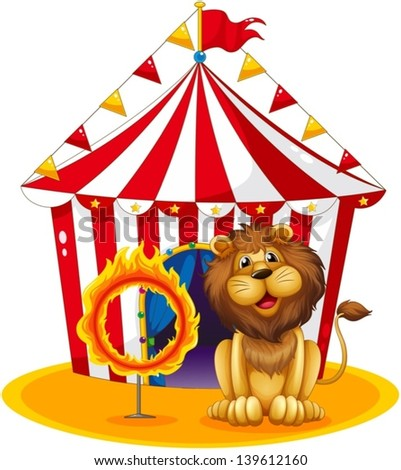 Illustration of a lion beside a fire hoop at the circus on a white background - stock vector