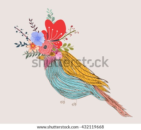 illustration of a little bird and blooming flowers