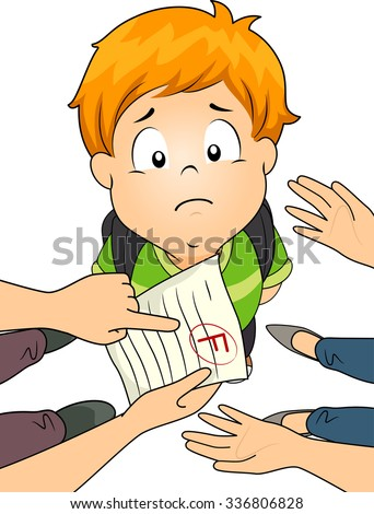 Illustration of a Little Boy Being Scolded by His Parents Over His Failing Grade - stock vector