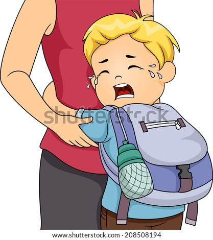 Illustration of a Little Boy Crying Out Loud Whie Clinging to His Mom - stock vector