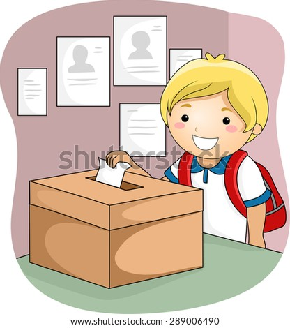 Illustration of a Little Boy Dropping His Ballot Inside the Box - stock vector